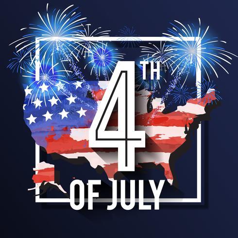 4 de julho Design de fundo de celebração com mapa dos EUA e fogos de artifício