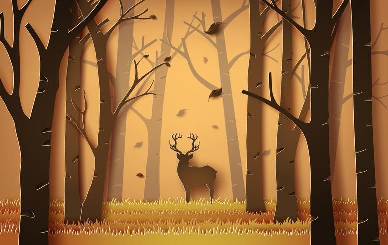 herten in het bos.