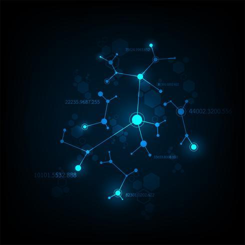 Disegno della rete dati vettoriale su uno sfondo blu scuro.