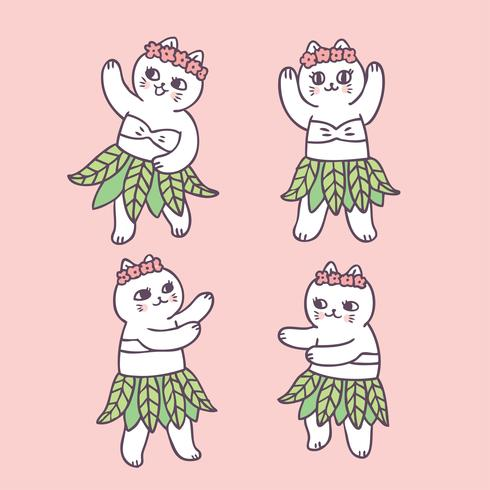 Vettore di danza del gatto carino estate cartone animato.