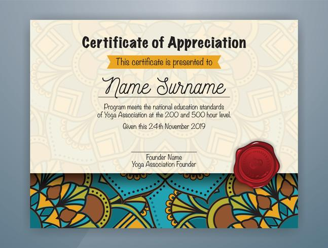 Mandala Bordered Certificate of Appreciation Template Design