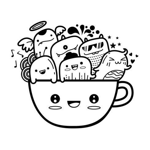 Coffee mug cute monter doodles background Vector illustration.