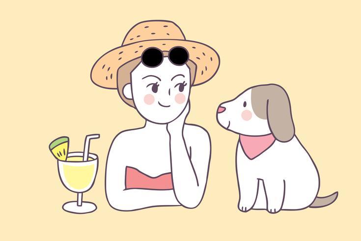 Cartone animato carino estate donna e cane vettoriale.