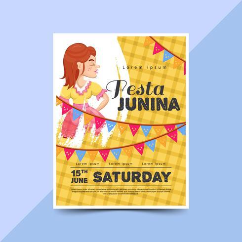 Festa junina poster with happy women