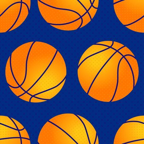 Basketball seamless pattern. Orange ball.