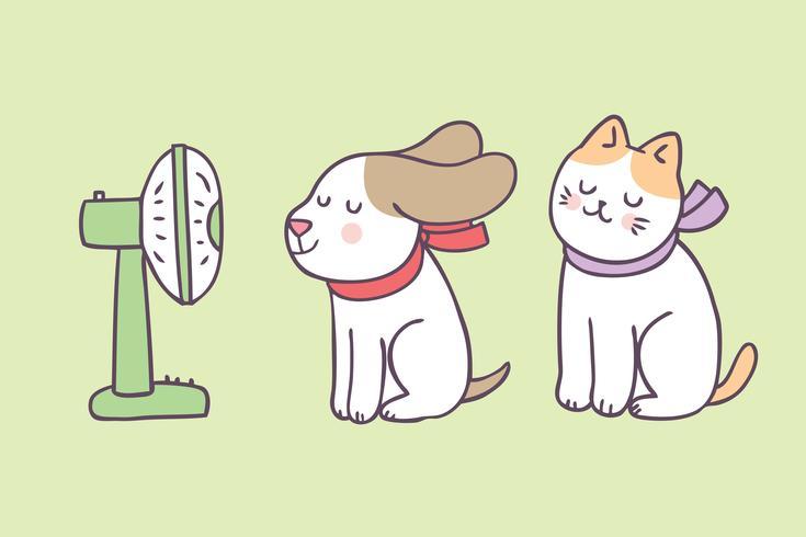 Vettore di cane e gatto carino estate del fumetto.