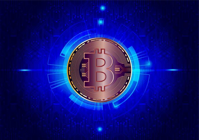 Fondo astratto della valuta digitale di Bitcoin per tecnologia, affare e vendita online, illustrazione di vettore