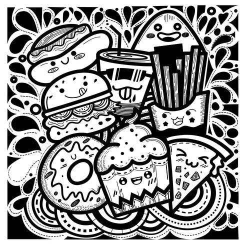 Schattig eten doodles vierkante stijl Bestaande uit cupcakes, hamburgers, donuts, patat, pizza, hotdogs en een glas water.
