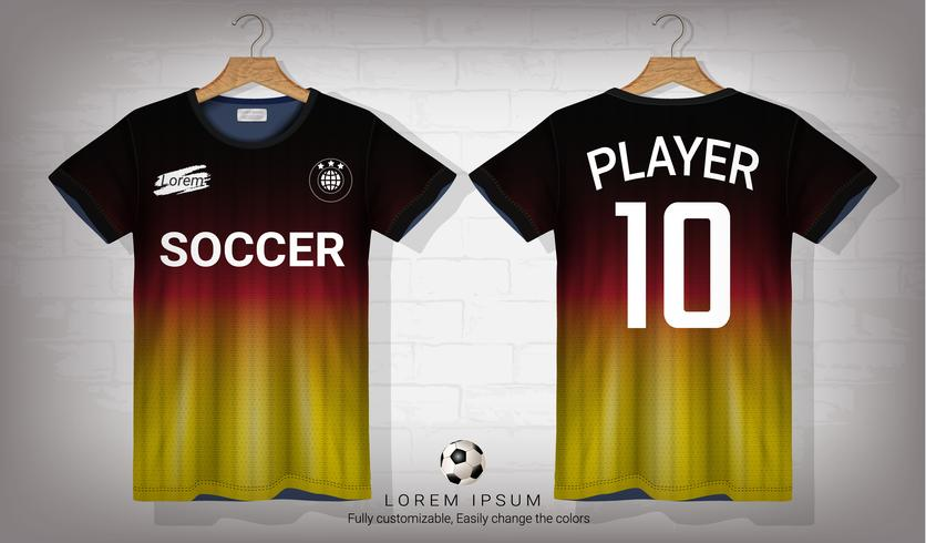 Soccer jersey and t-shirt sport mockup template, Graphic design for football kit or activewear uniforms. vector