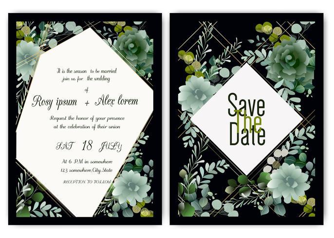 Greenery Wedding Invitation ,Template Eucalyptus  Wedding Invitation. vector