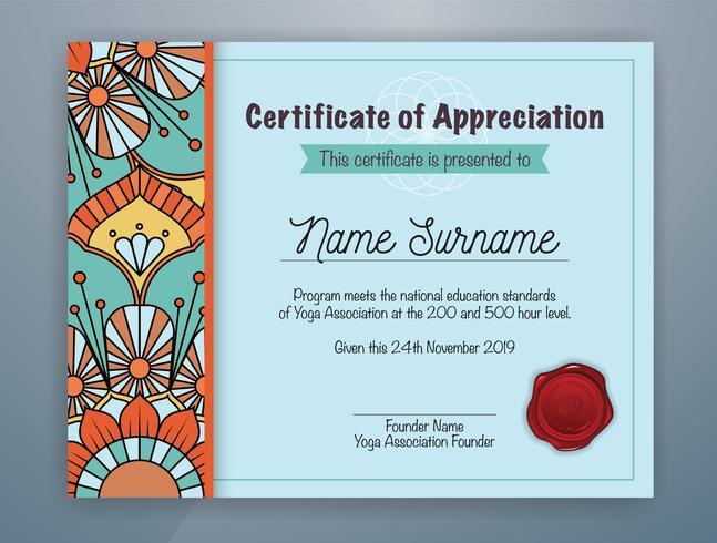 Mandala cian confinado diseño de plantilla de certificado de reconocimiento