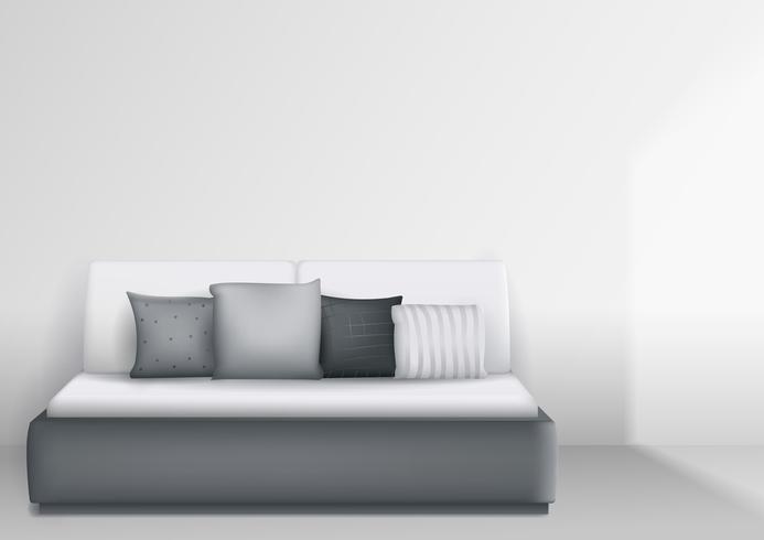 Intérieur moderne avec lit et oreillers, chambre lumineuse. Graphiques vectoriels