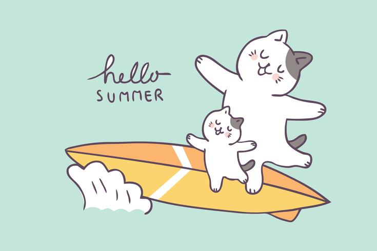 Cartoon cute summer father and kid surfing vector.