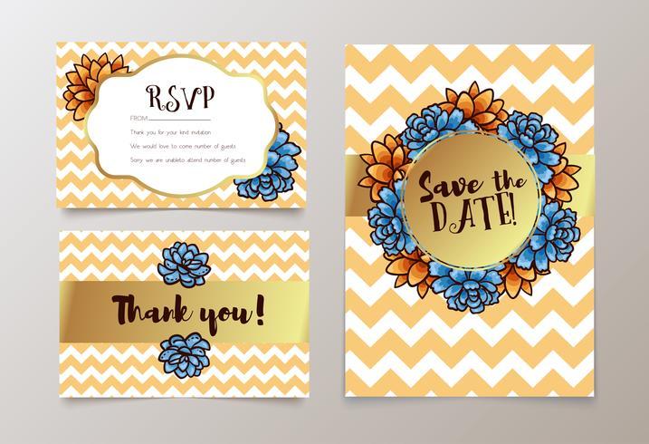 Trendigt kort med succulent för bröllop, spara datuminbjudan, RSVP och tackkort.