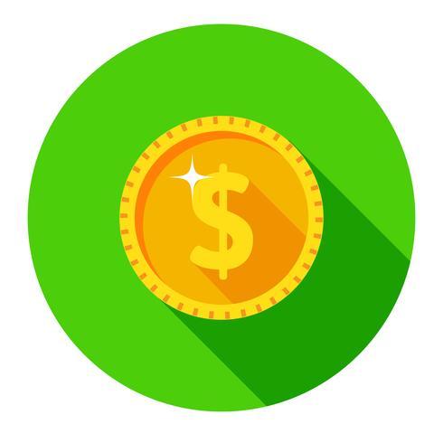 Guldmynt. Vektor ikon med en dollar tecken.