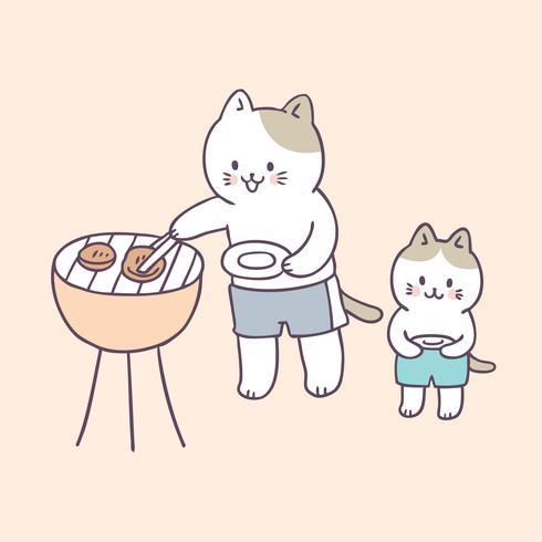Vector lindo de la comida campestre de los gatos de familia del verano de la historieta.