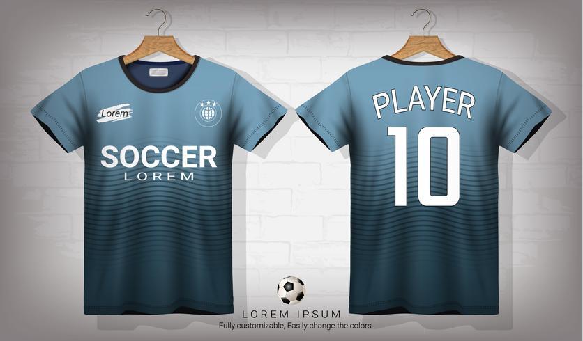 Plantilla de maqueta deportiva de camiseta y camiseta de fútbol, diseño gráfico para un equipo de fútbol o uniformes de ropa deportiva.
