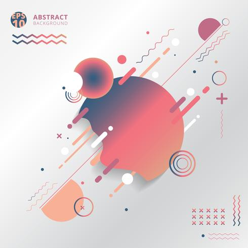Abstracte geometrisch creatief met lijnen, cirkel, golf, golvend, op witte achtergrond.