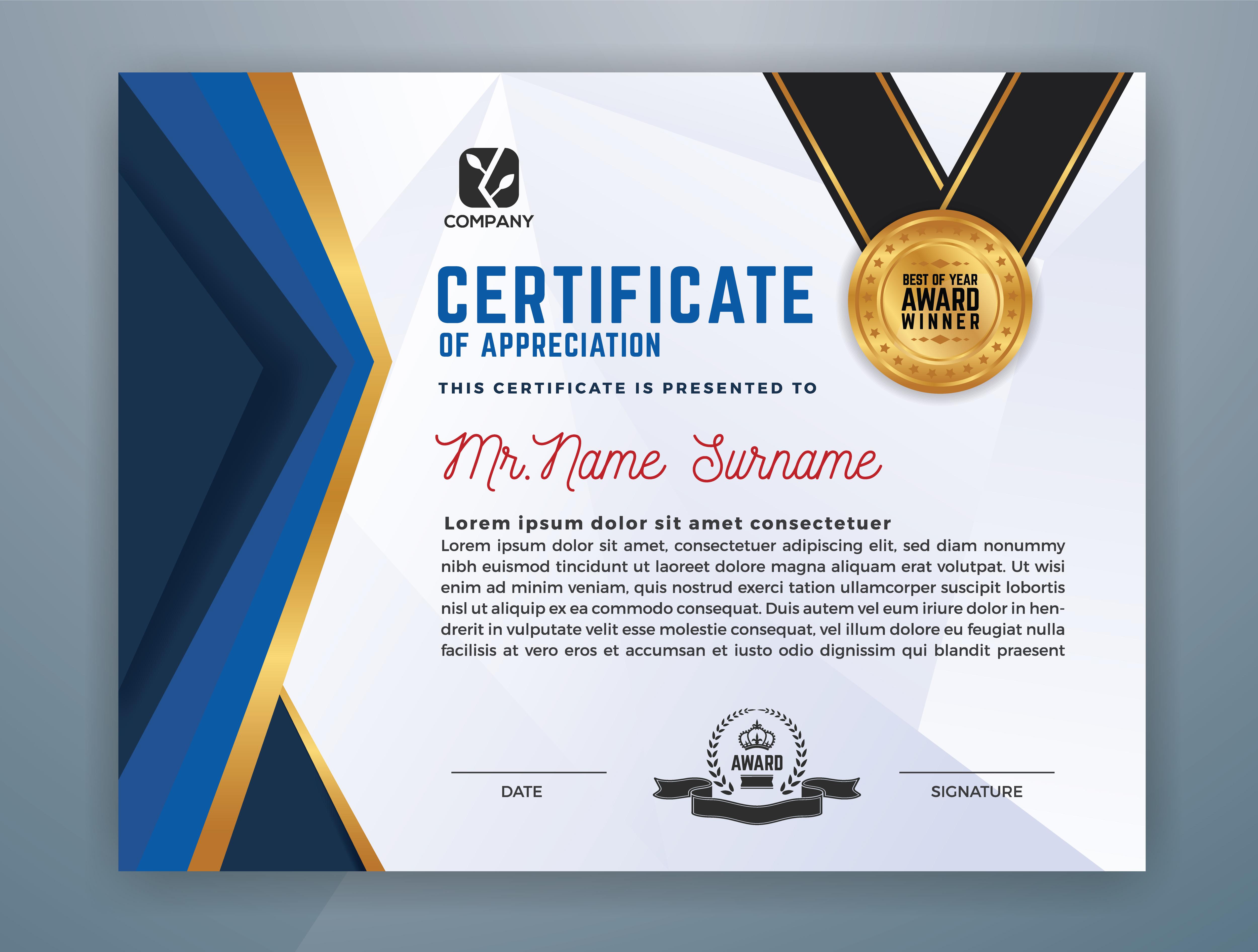 Multipurpose Modern Professional Certificate Template ...
