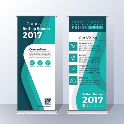 Diseño de la plantilla de Banner Roll Up vertical para el anuncio y la publicidad. vector