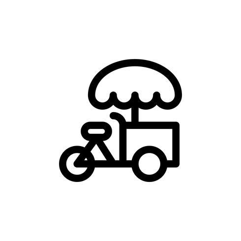 Illustrazione di vettore della bici del gelato, icona di stile della linea