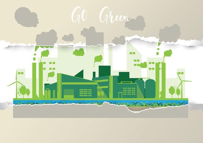 Eco industriële fabriek in een vlakke stijl