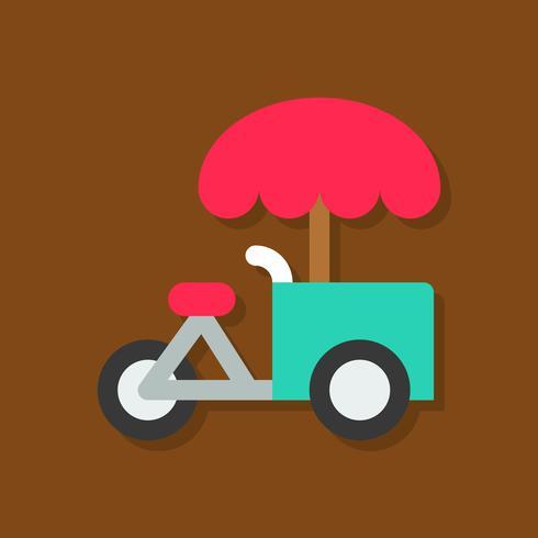 Eiscreme-Fahrradvektorillustration, flache Artikone