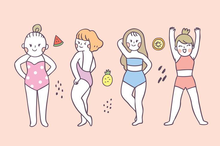 Cartone animato carino estate azione donna vettoriale.