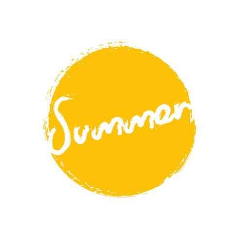 Handwritten phrase Summer with yellow circle brush stroke background. Vector illustration