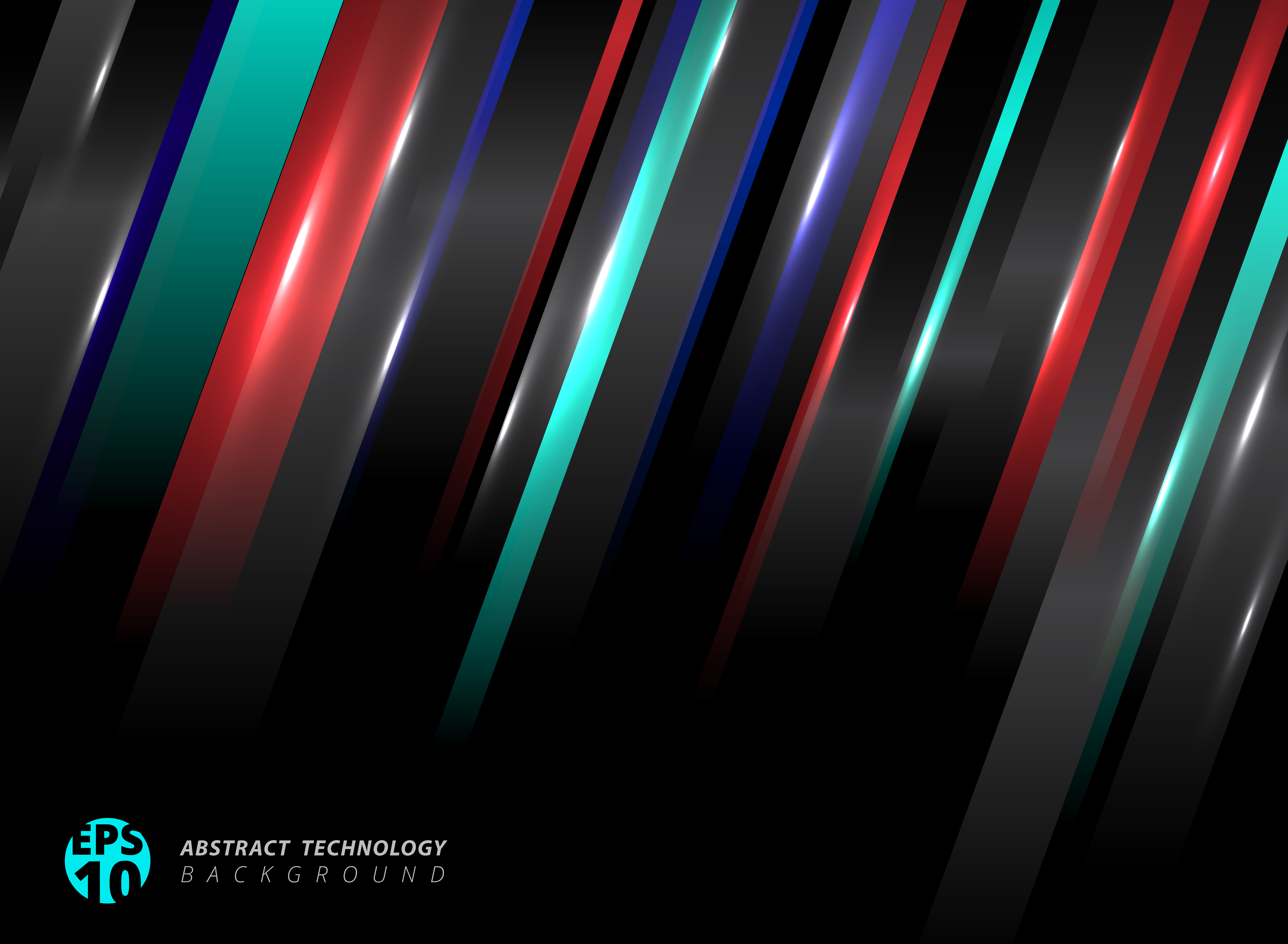 Abstract Technology Background With Light Effect: Abstract Technology Striped Oblique Blue, Red Color Lines