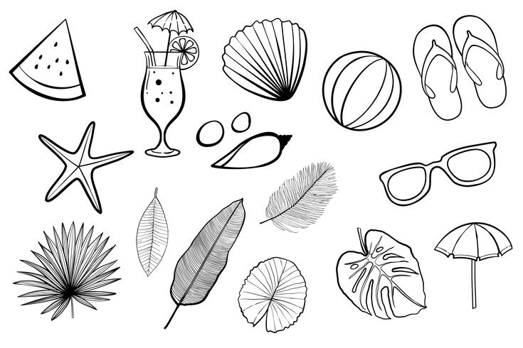 Summer design icons, elements and photo booth props set.Vector  illustration.