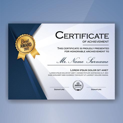 Certificato elegante blu e bianco dello sfondo modello di successo