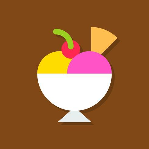 Illustrazione di vettore di gelato coppa gelato, icona di stile piano di dolci