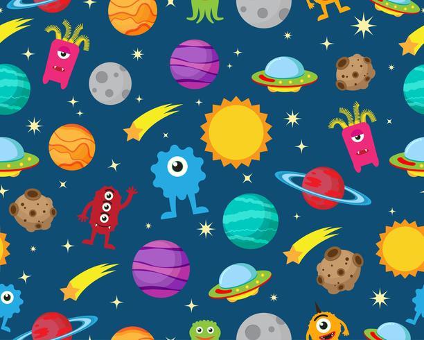 Naadloos patroon van vreemdeling met ufo en planeet op ruimtemelkwegachtergrond - Vectorillustratie vector