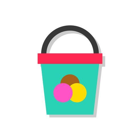 Illustration vectorielle de seau de crème glacée, icône de style plat de bonbons