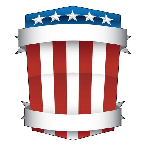 Patriotic Red, White and Blue, Stars and Stripes, American Pride Shield with Banners Isolated Vector Illustration