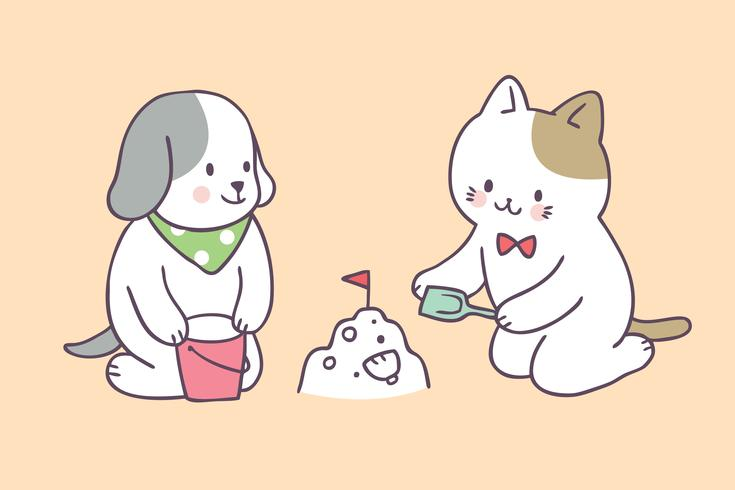 Cartoon cute summer cat and dog playing vector. vector