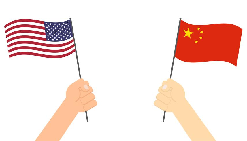 Manos sosteniendo la bandera entre Estados Unidos y China cara a cara para la competencia - ilustración vectorial