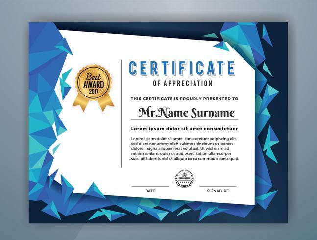 Diseño de plantilla de certificado profesional multiusos. Resumen azul polígono ilustración vectorial