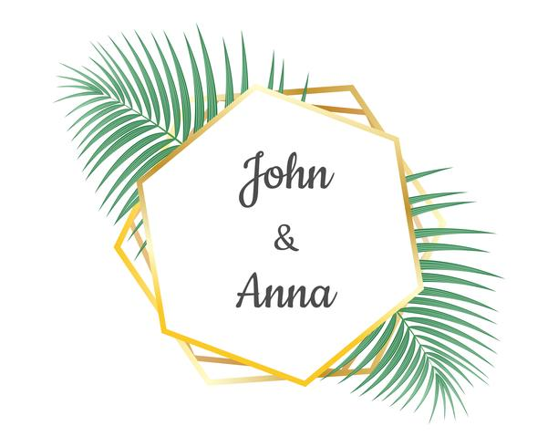 De kaartontwerp van de huwelijksuitnodiging en het geometrische gouden kader decoratief met tropische bladeren - Vectorillustratie