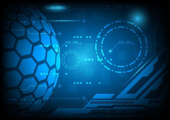 Concetto astratto blu di tecnologia digitale del fondo, illustrazione di vettore con lo spazio della copia