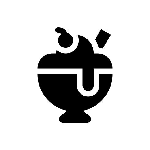 Glass sundae vektor illustration, godis stil stil ikon