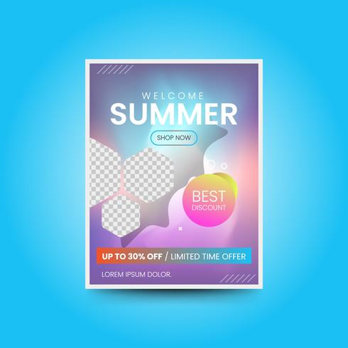 Summer poster in gradient style