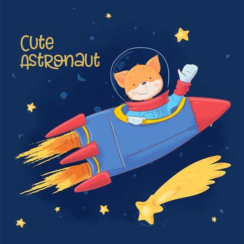 Postkartenplakat des niedlichen Astronautenfuchses im Raum mit Konstellationen und Sternen in der Cartoonart. Handzeichnung.
