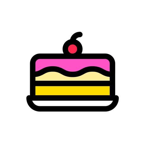 Vector de pastel de helado, dulces rellenados icono editable contorno