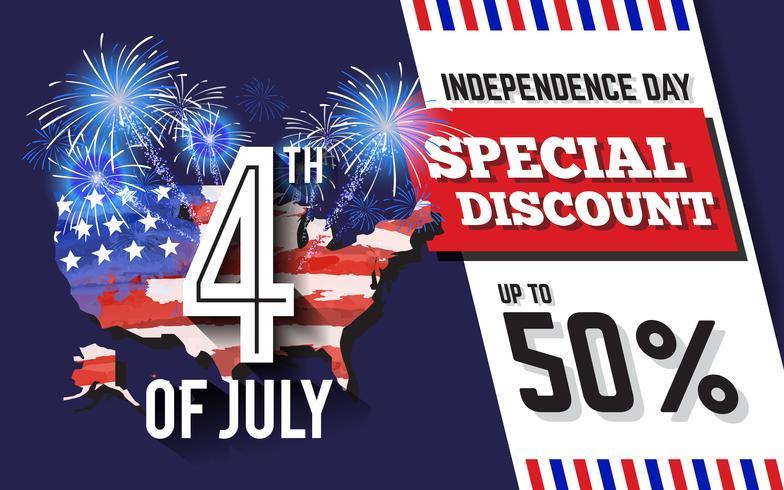 Diseño de fondo de promoción de descuento de celebración del 4 de julio con mapa de EE. UU. Y fuegos artificiales vector