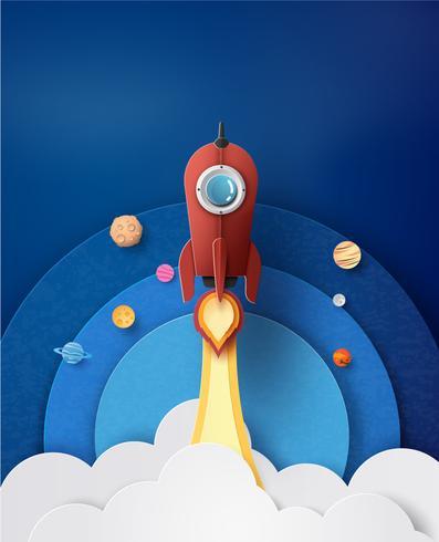 Lanzamiento de cohete espacial y galaxia. vector