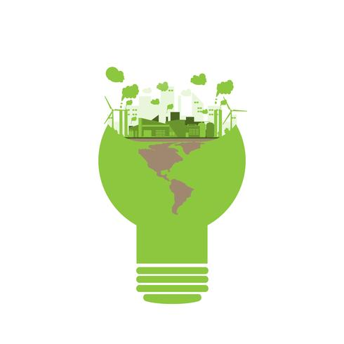 ecology industrial factory in a lightbulb style