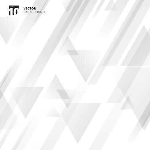 Triangles géométriques de technologie abstraite superposent la couleur gris dégradé de mouvement sur fond blanc.