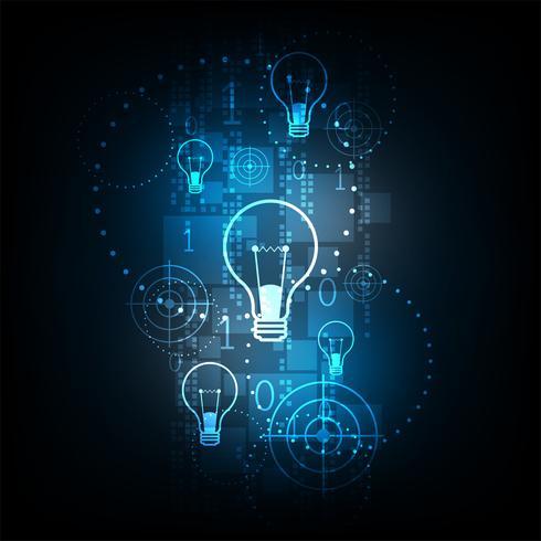 Digital technology in light bulb concept.
